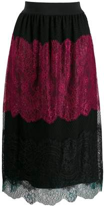 Twin-Set colour block lace skirt