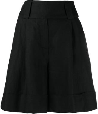 Eleventy High-Waist Gathered Linen Shorts