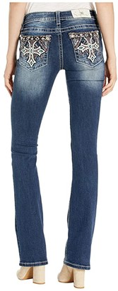 Miss Me Turquoise Cross Chloe Bootcut Jeans in Dark Blue