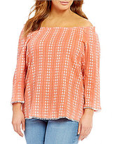 Westbound Plus Printed Peasant Top