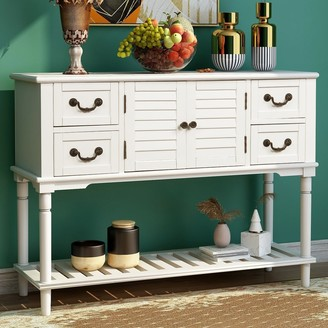 Parrot Uncle Entryway Sofa Table Console Sideboard Table with 4 Storage Drawers