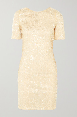 Galvan Sequined Georgette Mini Dress - White
