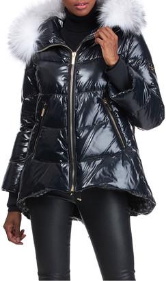 "Gorski Shiny Apres-Ski Jacket With Detachable Fox Fur Hood Trim - 29"""