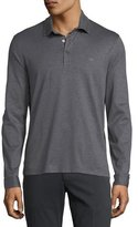 Salvatore Ferragamo Long-Sleeve Polo Shirt with Gancini Chest Embroidery, Gray