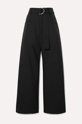 Proenza Schouler Belted Wool-blend Twill Pants - Black