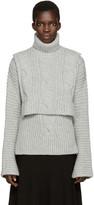 Cédric Charlier Grey Cable Knit Turtleneck Collar