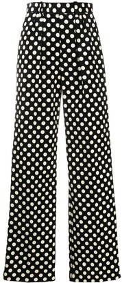 Marc Jacobs Polka Dot Print Wide Leg Trousers
