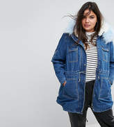 Simply Be Denim Parka With Faux Fur Collar And Inner