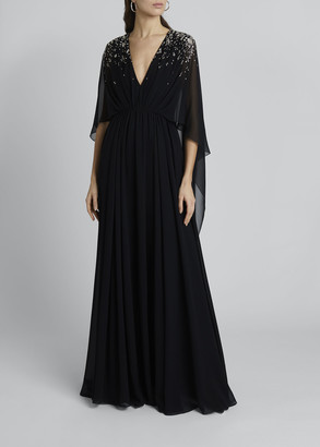 Givenchy Crystal Embellished Cape Gown