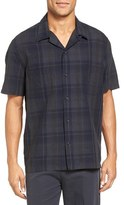 Vince Men's Short Sleeve Linen Plaid Camp Shirt