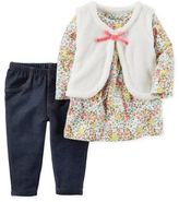 Carter's 3-Piece Sherpa Vest, Floral Tunic, and Stretch Denim Pant Set in White