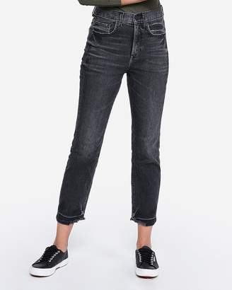 Express Super High Waisted Original Black Faded Straight Cropped Jeans