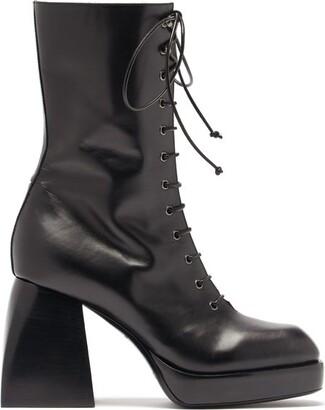 Nodaleto Lace Up Leather Platform Boots - Black