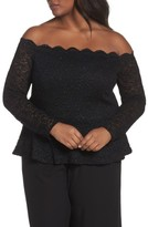 Alex Evenings Plus Size Women's Glitter Lace Off The Shoulder Top