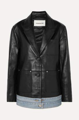 Andersson Bell - Denim-trimmed Leather Blazer - Black
