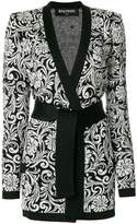 Balmain printed belted cardigan