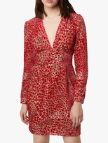 French Connection Adelma Devore Mini Dress, Lipstick Red