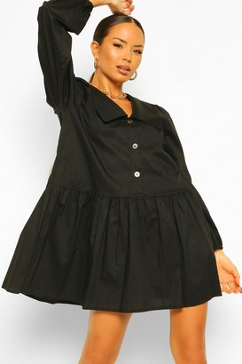 boohoo Oversized Collar Button Front Smock Dress