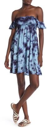 BOHO ME Tie Dye Smocked Off-the-Shoulder Dress