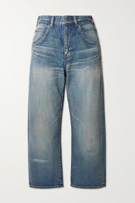 Saint Laurent Cropped High-rise Straight-leg Jeans - Blue