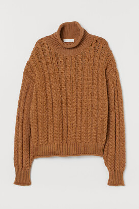 H&M Cable-knit polo-neck jumper