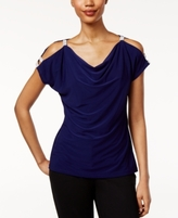 MSK Petite Rhinestone Cold-Shoulder Top