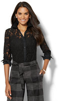 New York & Co. 7th Avenue Design Studio - Lace-Overlay Madison Stretch Shirt