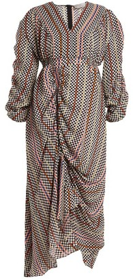 Preen by Thornton Bregazzi Monica Hammered-silk Checked Dress - Black Multi