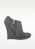 McQ by Alexander McQueen Rusty Slim Wedge Leather Bootie