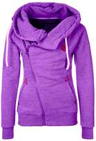 XWDA Zipper Hoodie Women High Collar Long Sleeve Jacket Casual Warm Plus Size Coat