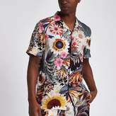 River Island Mens Pink sunflower print short sleeve shirt