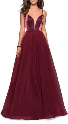 La Femme Velvet & Tulle Evening Dress