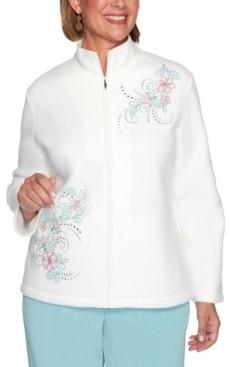 Alfred Dunner Petite St. Moritz Floral Embroidery Polar Fleece Jacket