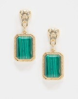 Asos Design DESIGN earrings with lion stud and green stone drop in gold tone