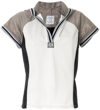 Chanel Pre Owned hooded short-sleeved mesh T-shirt