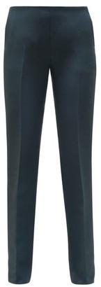 The Row Ladan Tailored Wool-blend Crepe Trousers - Dark Green