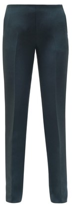 The Row Ladan Tailored Wool-blend Crepe Trousers - Womens - Dark Green