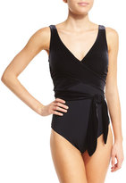 Karla Colletto Victoria Velvet Surplice One-Piece Swimsuit