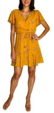 Trixxi Juniors' Floral Wrap Dress