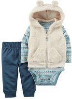 Carter's Baby Boy Hooded Vest, Print Bodysuit & Pants Set