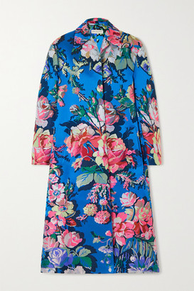 Dries Van Noten Floral-jacquard Coat - Blue