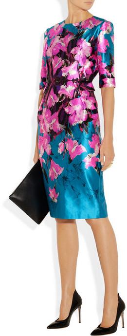 Prabal Gurung Floral-print cotton and silk-blend satin dress