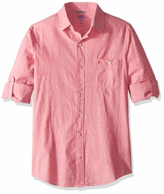 Izod Men's Fit Saltwater Dockside Chambray Long Sleeve Button Down Solid Shirt