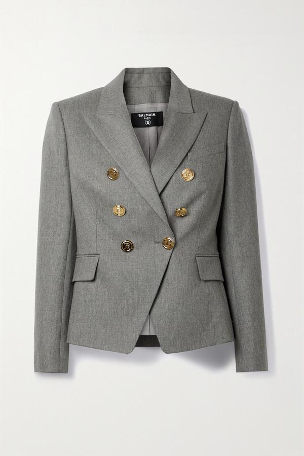 Balmain Double-breasted Wool-blend Blazer - Gray