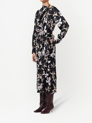 Jason Wu Collection Silk Satin Jacquard Long Sleeve Dress