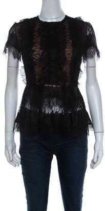 Elie Saab Black Lace Short Sleeve Peplum Top XS