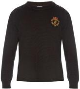Saint Laurent Crest-appliqué Cotton And Wool-blend Sweater