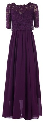 Dorothy Perkins Womens Jolie Moi Purple Lace Overlay Maxi Dress, Purple