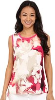 Calvin Klein Women's S/L Print Top with Woven Front Shell