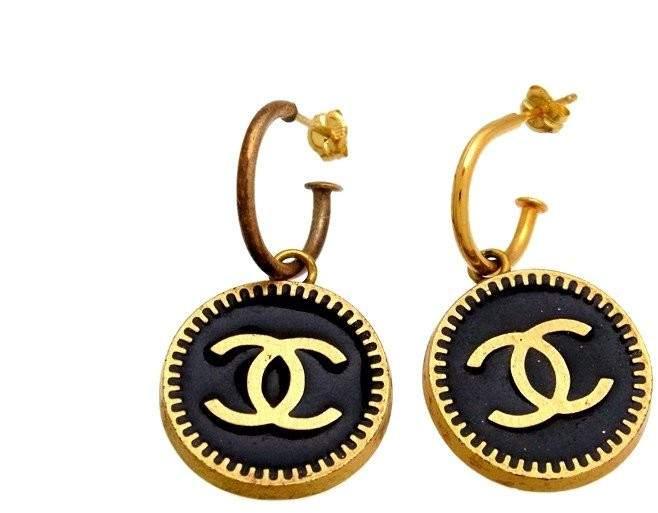 Chanel CC Logo Gold Tone Metal Black Dangle Stud Earrings